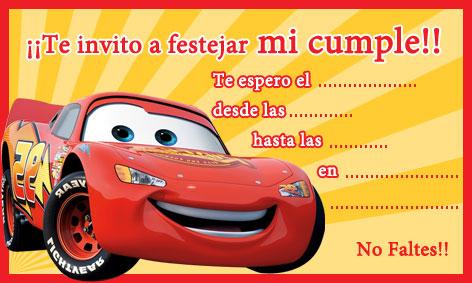 CARS     Tarjetas Invitaci  N Plea  Os Para Ni  Os