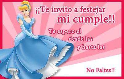 invitacion princesas disney Tarjeta cumpleaños para niños Cenicienta