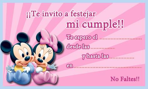 mickey minnie invitacion imprimir 1 Tarjetas cumpleaños para niños ...