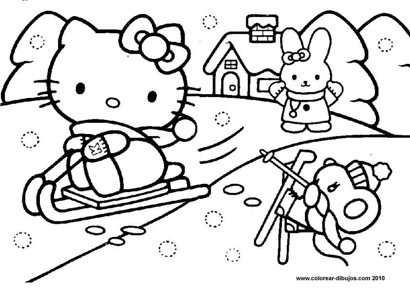 Hello Kitty En Coche Y Esquiando Para Colorear