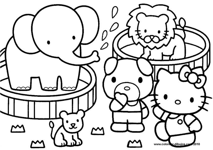 Dibujos para colorear  Hello Kitty y sus amigos en el Circo