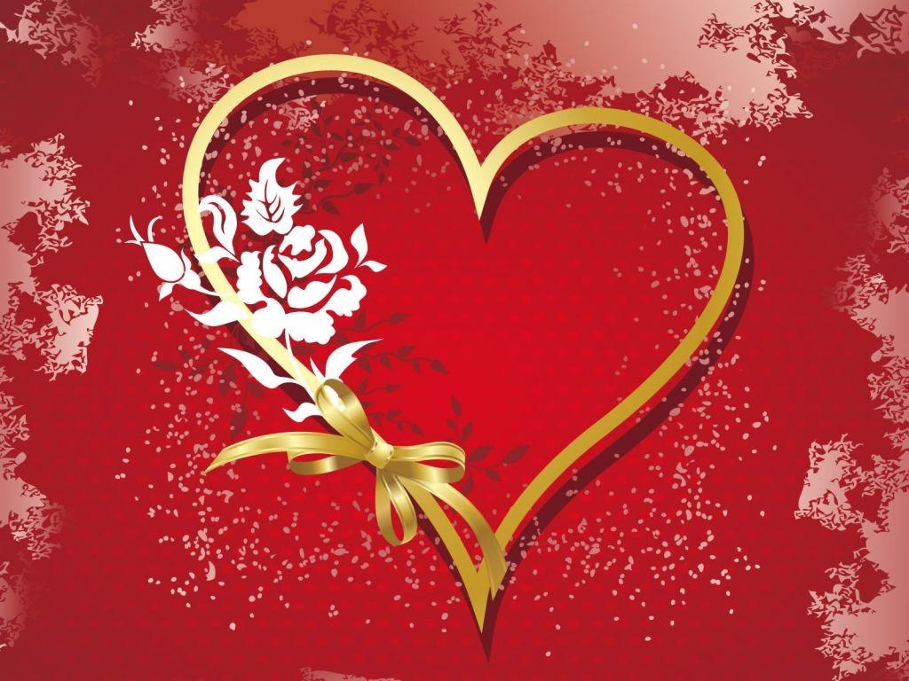 Amor1 300x225 Tarjeta de un corazón dorado con fondo rojo pasión ...