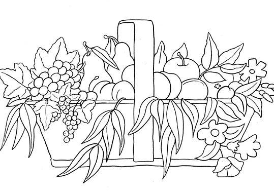 Dibujos de frutas Dibujo para colorear de cesto de frutas, para niños