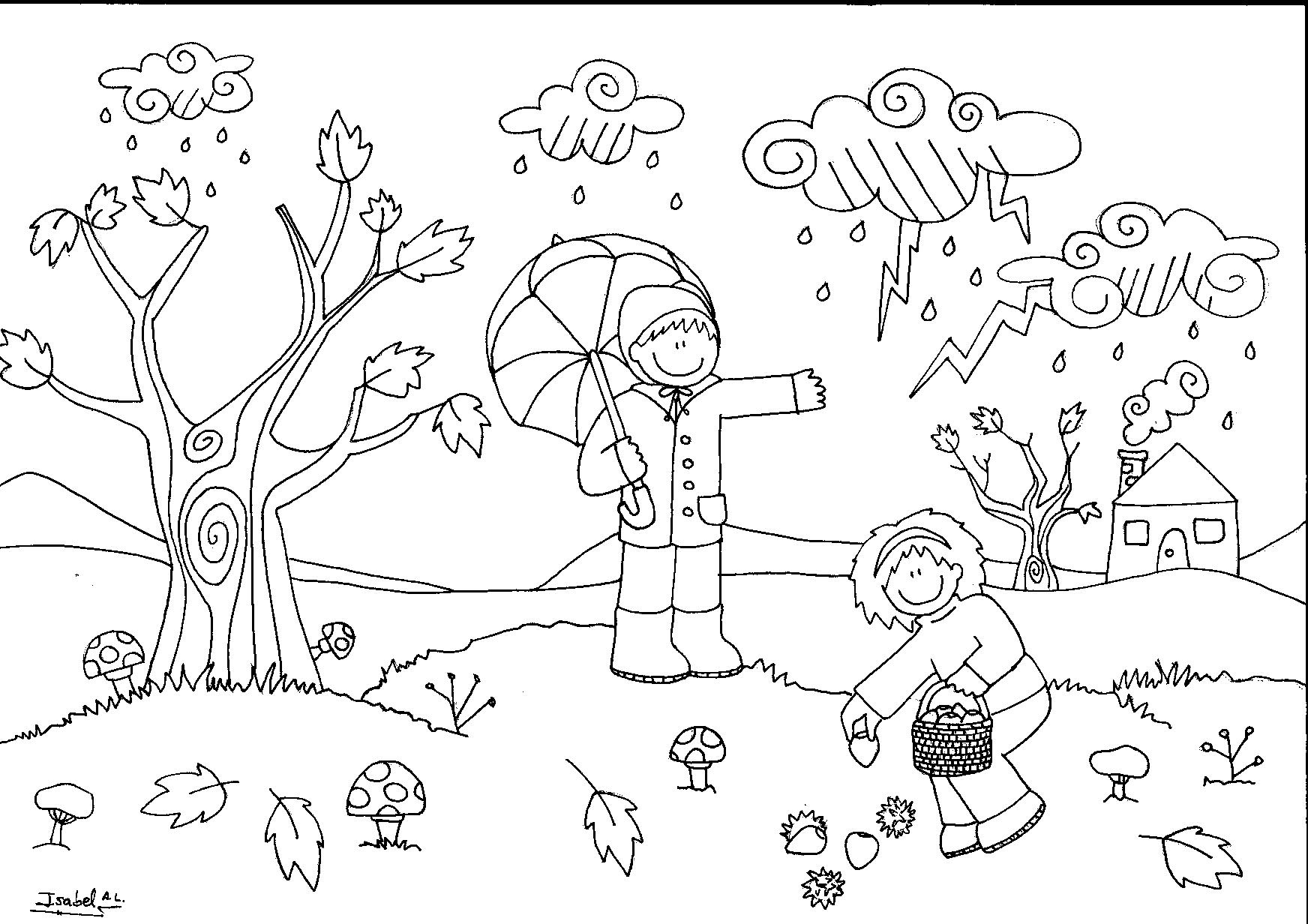 Dibujo De La Palabra Otoño Para Colorear Con Los Niños: Dibujo De Un Paisaje De Otoño Para Niños