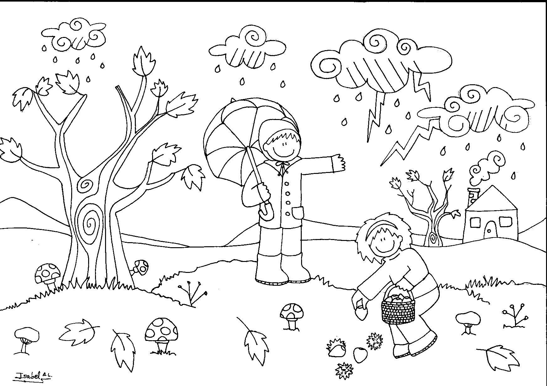 Dibujos Colorear Otono Infantil: Dibujo De Un Paisaje De Otoño Para Niños