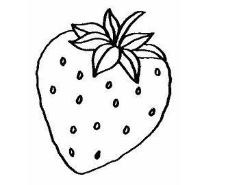 Dibujo de una fresa para colorear  Fruta saludable para nios