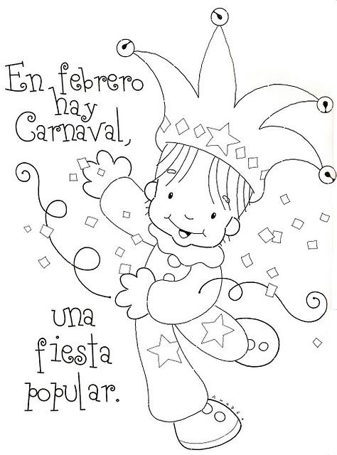 Dibujo de Carnaval nio con serpentinas