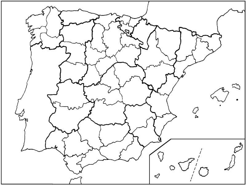 Mapa mudo de Espaa por provincias