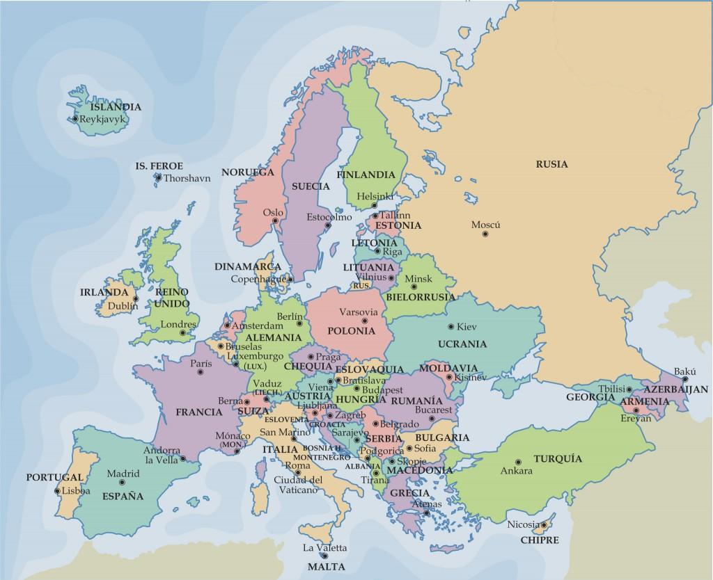 Europa politico 1024x834 Mapa político de europa para estudiantes