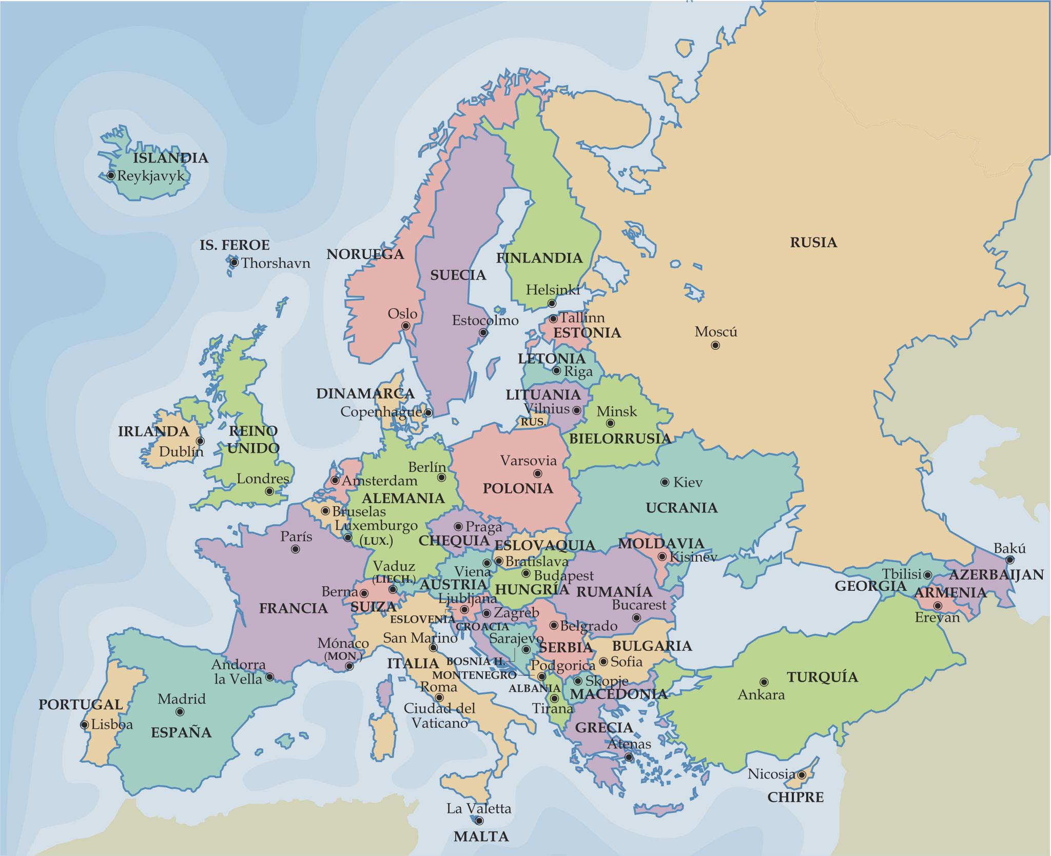 Mapa político de Europa para escolares infantil