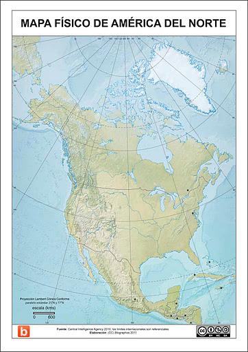 Mapa fsico de America del Norte para escolares
