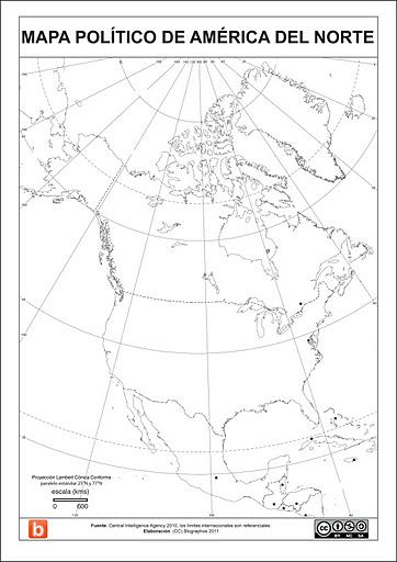 Mapa politico de America del Norte para estudiantes