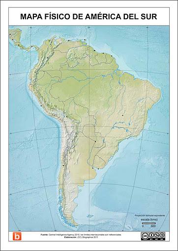 Mapa Fisico De Sudamerica Para Escolares
