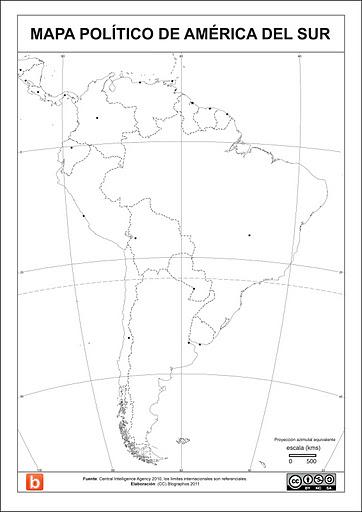 Mapa politico de Sudamerica para escolares
