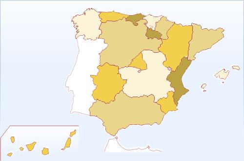 Mapa De España Bonito.Mapa Mudo De Las Comunidades Espanolas