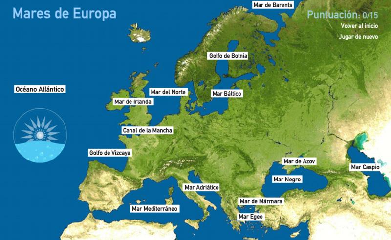 Mapa interactivo para aprender y situar los mares de Europa