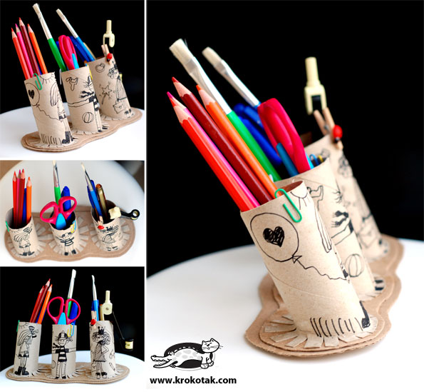 Toilet paper roll pencil holder view image