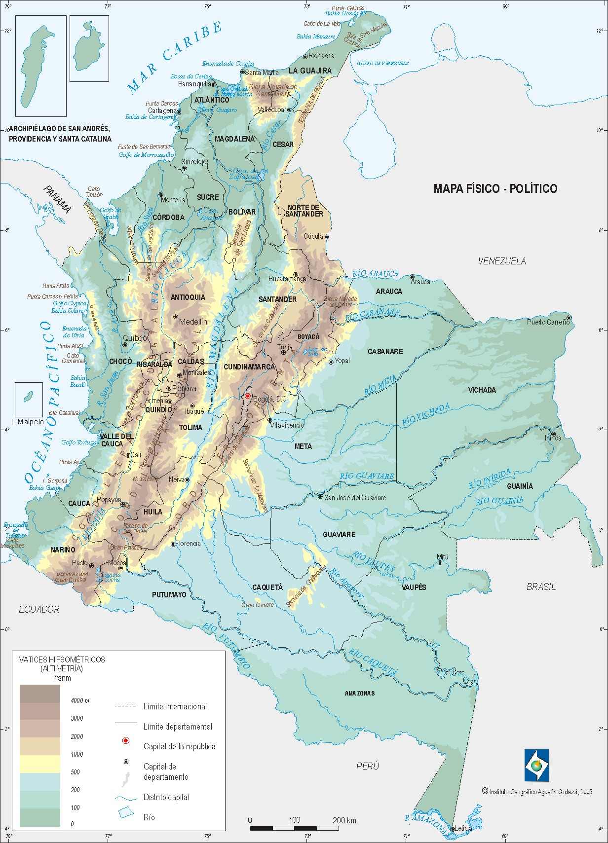 Mapa Fisico De Colombia
