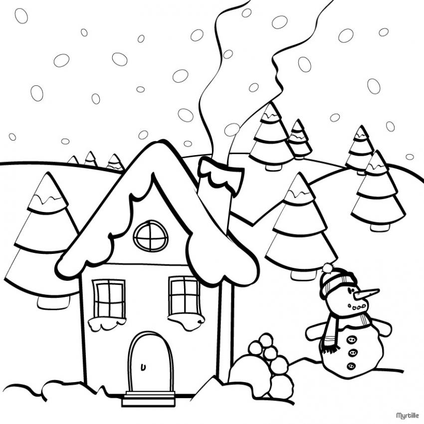 Dibujo De Casita Nevada Con Muñeco De Nieve