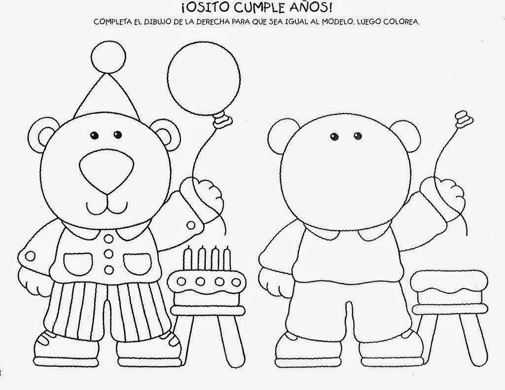 Completar el oso de cumplea os for Actividades para el jardin de infantes