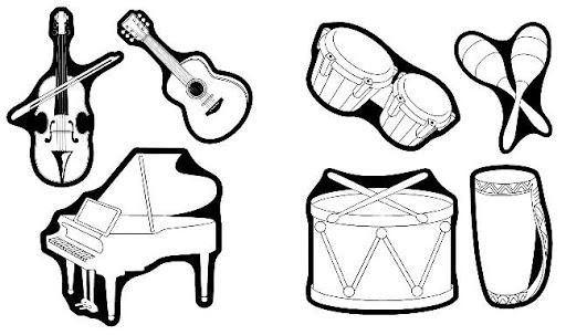 Conjunto de instrumentos musicales para colorear