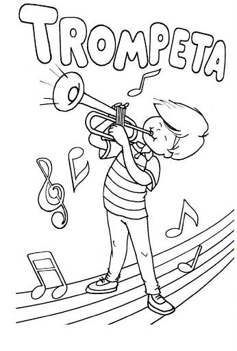 Trompeta para colorear