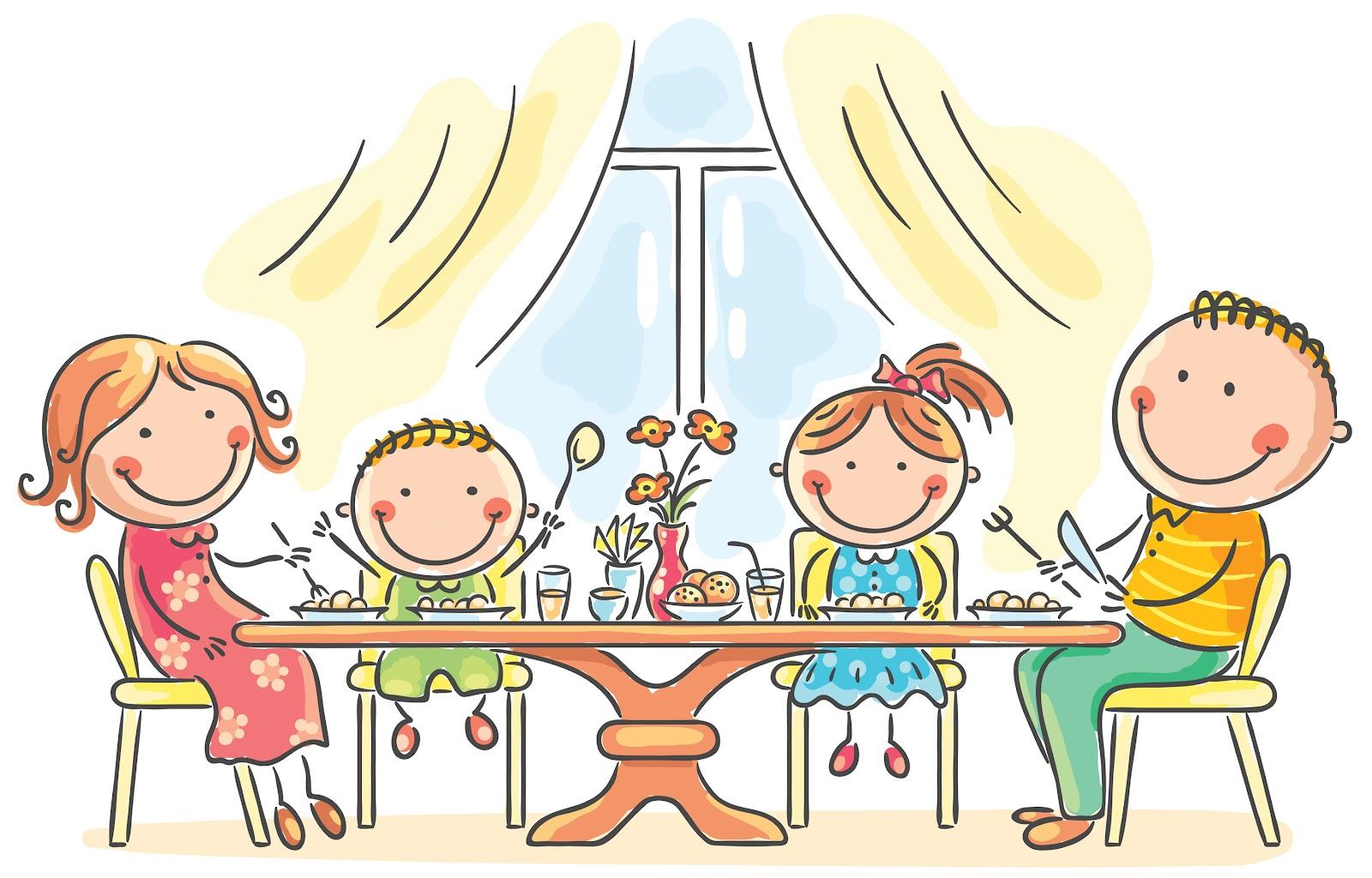Resultado de imagen para familia comiendo en la mesa dibujos