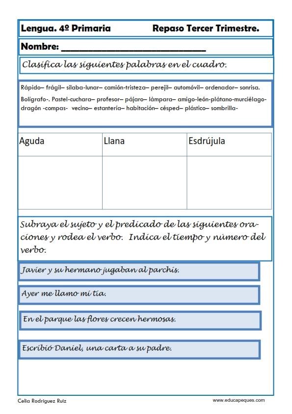 Actividades de lengua para primaria for Cuarto primaria