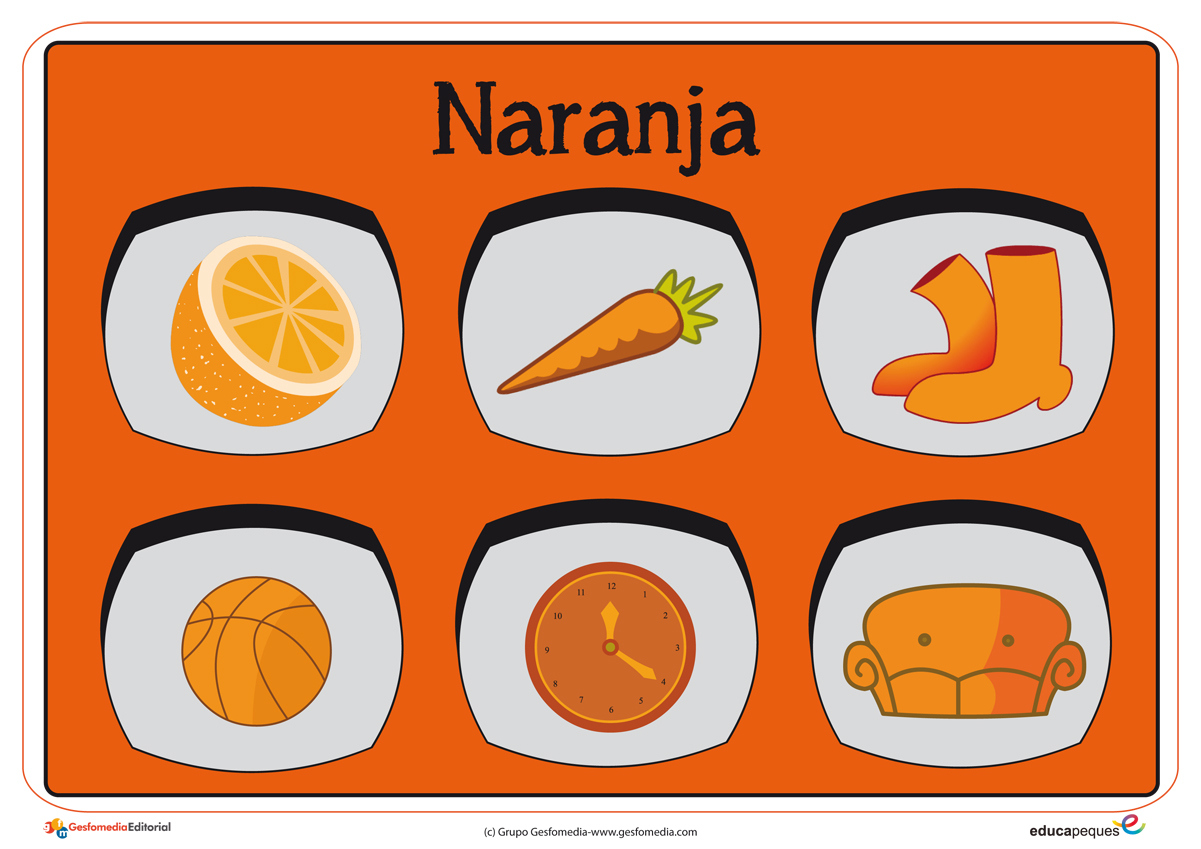 Cartel con el color naranja para niños