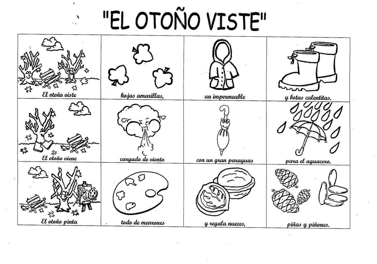 Moderno Preescolar Otoño Para Colorear Patrón - Dibujos Para ...