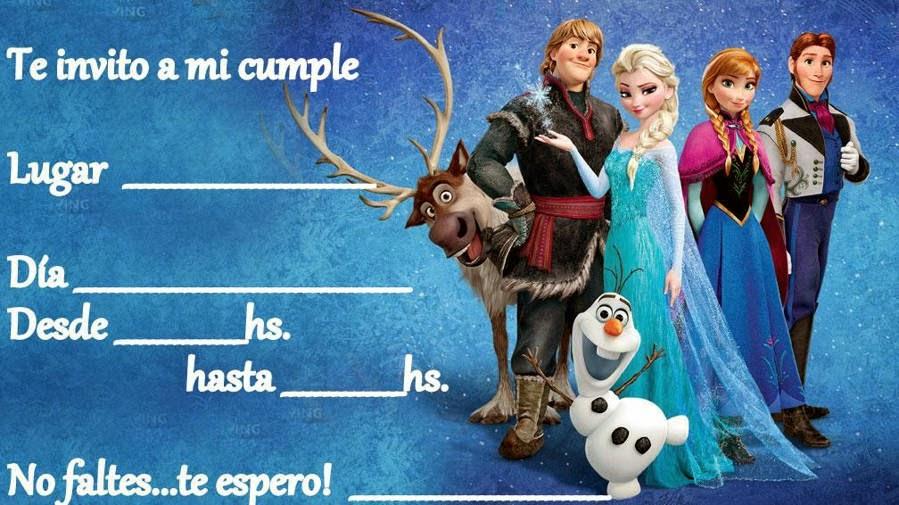 Invitación De Cumpleaños Con Personajes De Frozen El Reino