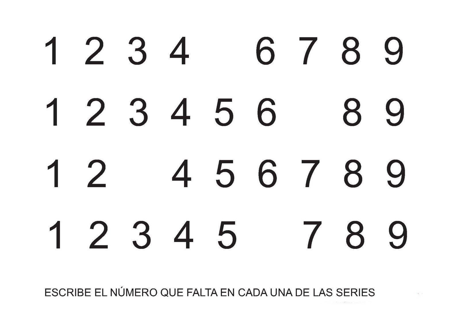 Completar series de números del 1 al 9 para escolares