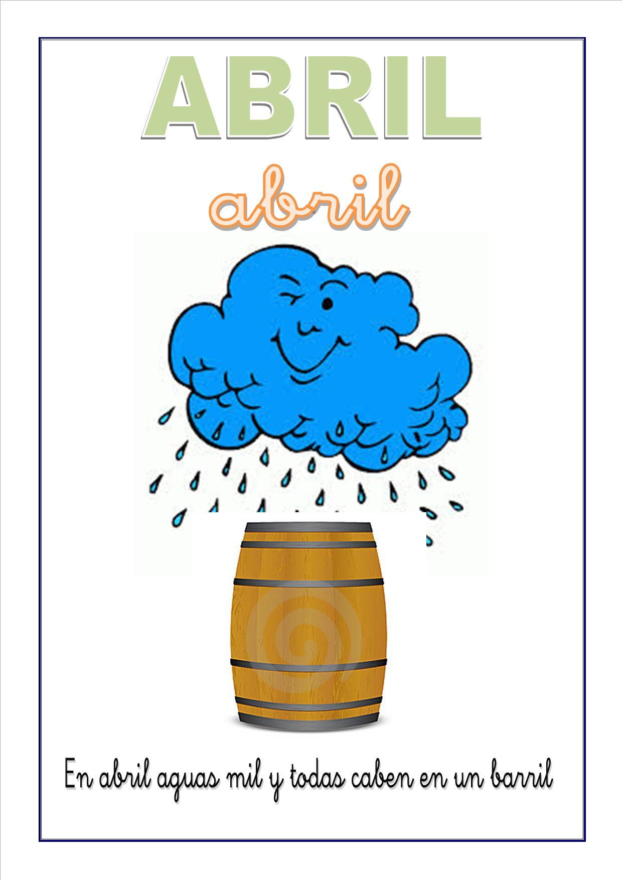 Cartel con el mes de abril para escolares - Aprender ingles en un mes ...