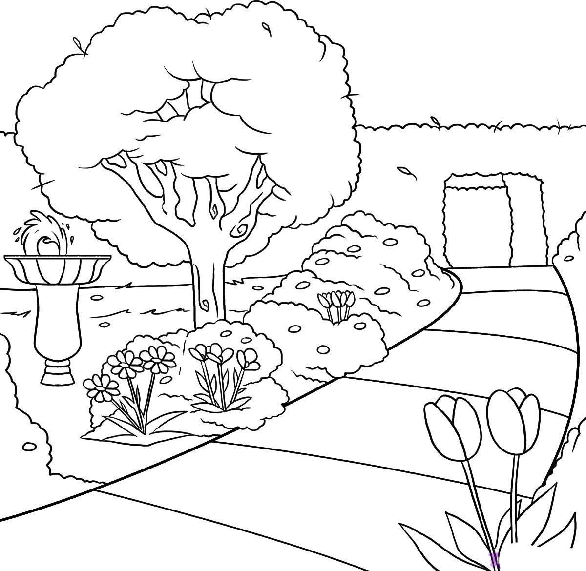 Dibujo de parque para colorear for Como iluminar un parque