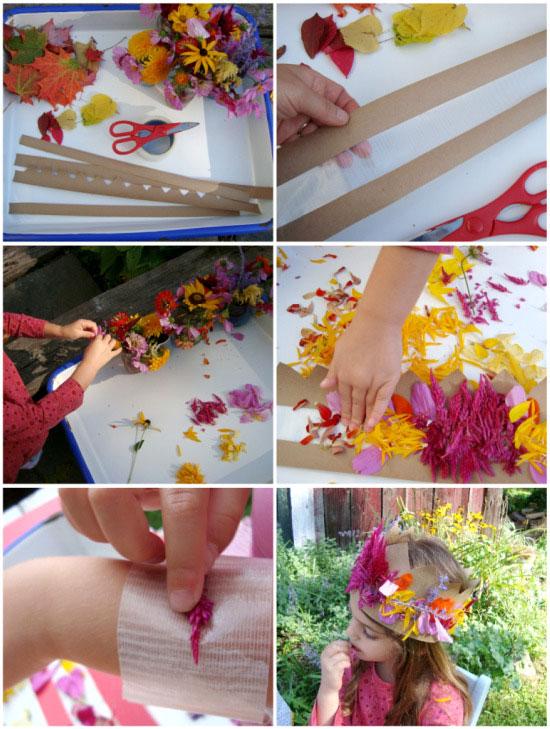 083c776139d5a5dbf1fe214c8c715b94 Manualidades para niños, coronas de hojas y flores