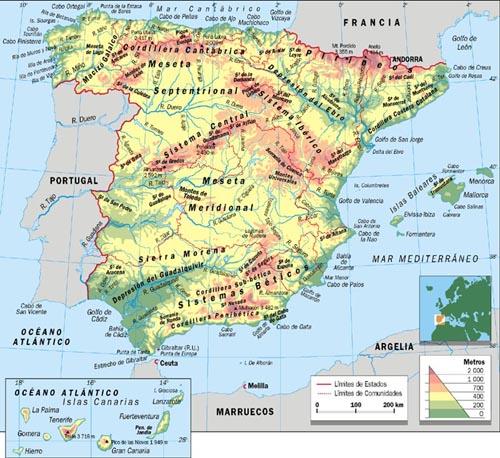 Mapa Geograf U00eda Escolar  U2013 Mapa F U00edsico De Espa U00f1a