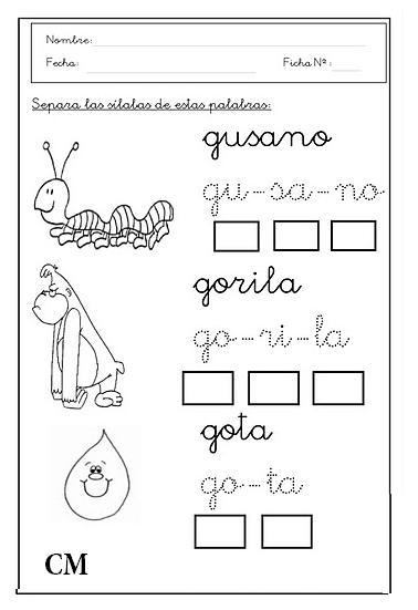Separación De Silabas Para Escolares Cucaluna