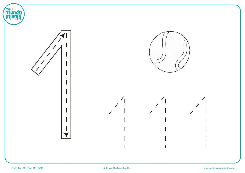 Ficha de grafoescritura del numero 1 – CUCALUNA